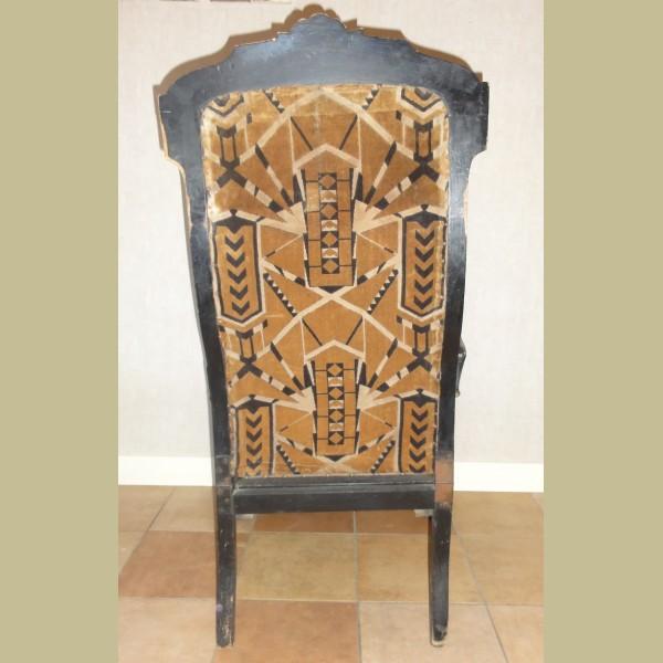 Zwarte antieke po stoel met verstelbare rugleuning - La Brocanti
