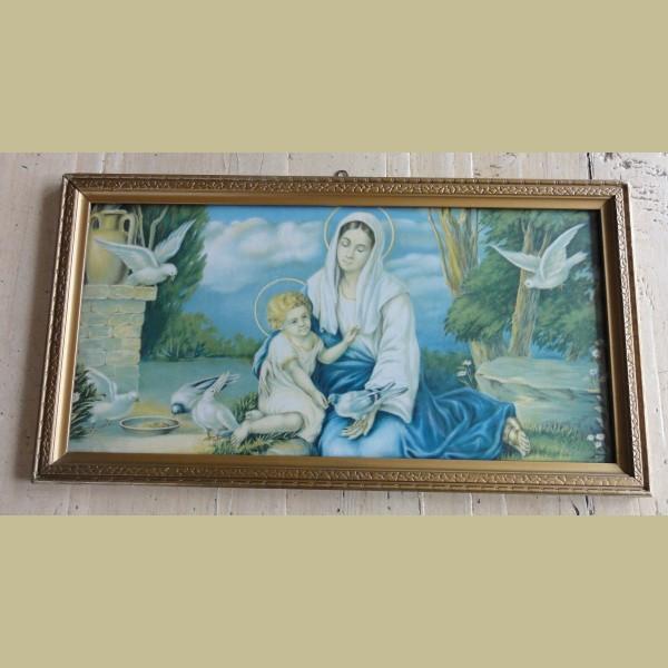 Keukenspullen Kind : Oud brocante ingelijste prent, Maria met kind en duiven – La Brocanti