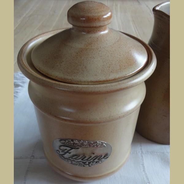 Brocante Keuken Textiel : Keukenspullen > Franse brocante gres voorraadpot FARINE / meel