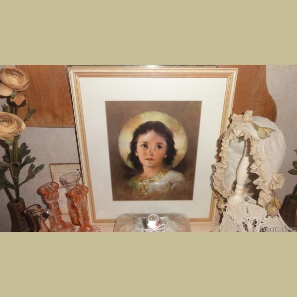 Keukenspullen Kind : Schilderijen & wanddecoratie > Brocante ingelijste prent kind / meisje