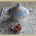 Oude Franse suikerpot met bloemetjes en lichtblauwe rand