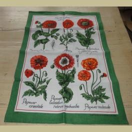 Vintage Iers linnen theedoek met klaprozen