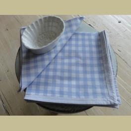 6 Landelijke ruitjes servetten, wit lichtblauw