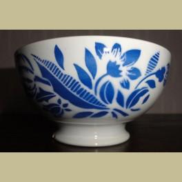 Oude Franse spoelkom met blauwe bloemen, Badonviller