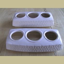 2 Retro wit keramieke planten houders