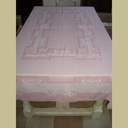 Vintage roze Frans tafelkleed + 12 servetten