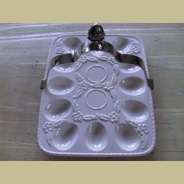 Landelijke off white eierschaal met houder