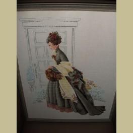 Ingelijst borduurwerk nostalgische dame
