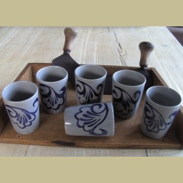 6 Gerzit Staffel stoneware bekers
