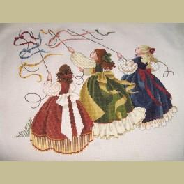 Borduurwerk met vliegerende meisjes met prachtige nostalgische jurken