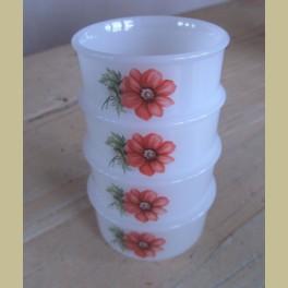 4 Arcopal mini kommetjes met rode bloemen, 8 cm