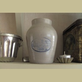 Oude brocante steengoed Enso bleekpoeder pot