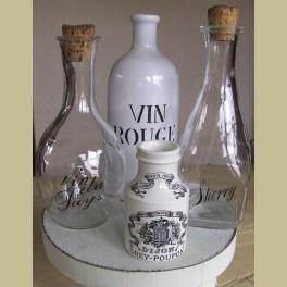 2 Brocante Franse wijn flessen, VIN DE PAYS & SHERRY