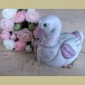 Porseleinen gans met roze bloemetjes & strik