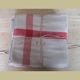 6 Zeer grote oude Franse linnen theedoeken , beige rood