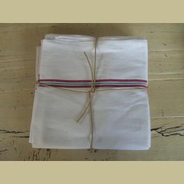 3 Oude Franse theedoeken, wit met rood met groene streep