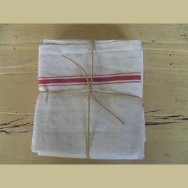 3 Oude Franse theedoeken,wit met rode strepen