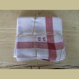 2 Oude Franse theedoeken, wit met rode strepen en monogram