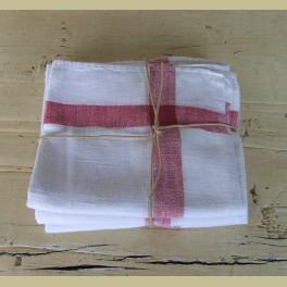 3 Oude Franse theedoeken, wit met rode strepen