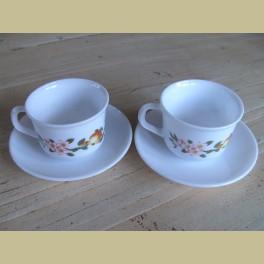 2 Arcopal kop en schotels, appel & bloesem