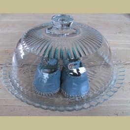Grote Franse brocante glazen stolp met onderbord