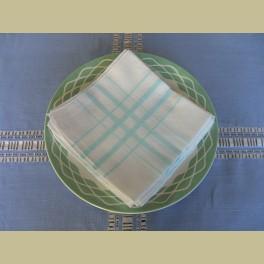 6 Brocante witte servetten met mintgroene strepen