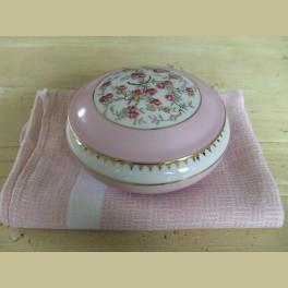 Frans brocante schaaltje met roze roosjes, Limoges