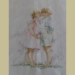 Pastel borduurwerk kussende kinderen