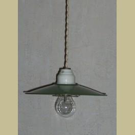 Oude Franse hanglamp, groen emaille met porselein