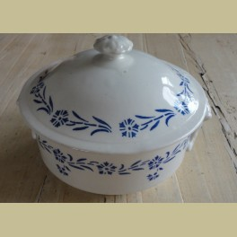 Brocante Franse dekschaal met blauwe bloemetjes