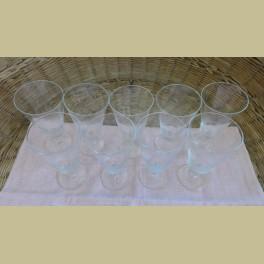 9 Oude geslepen glazen