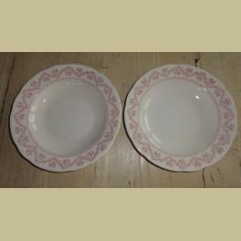 2 Franse borden met roze bloemetjes, Sarreguemines