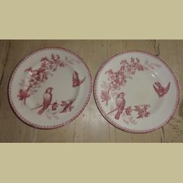 2 Oude Franse borden met vogeltjes, Mesange Longwy