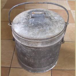 Oude Franse zinken ( vuilnis ) emmer