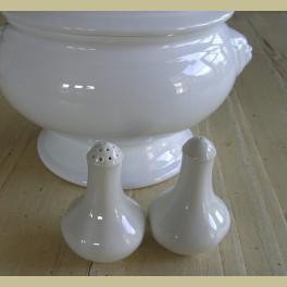 Engels wit porseleinen peper en zoutstel