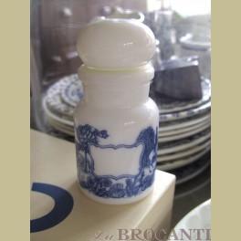 Melkglazen apothekers potje met romantische print, blauw wit