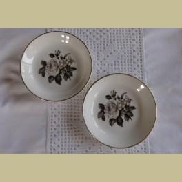 2 Petit four schaaltjes met witte roos, Royal Worcester