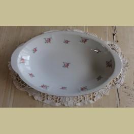 Brocante ovale serveerschaal met roze roosjes / bloemetjes