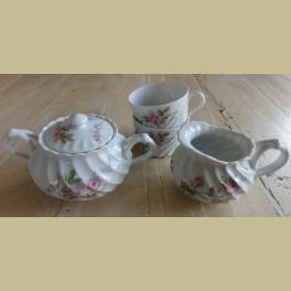 Frans oud Haviland Limoges Roomstel + 2 kopjes, roze roosjes