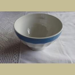 Franse witte spoelkom met blauwe rand