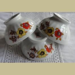3 Franse retro spoelkommetjes met bloemen