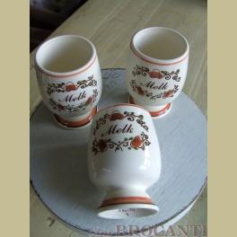 3 Zenith melkbekers oranje / bruin
