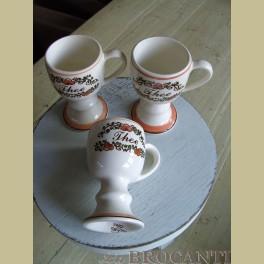 3 Zenith thee mokken / bekers oranje bruin