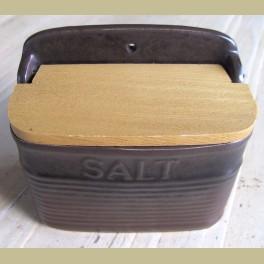 Bruine stoneware zoutpot SALT