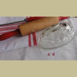 Engels brocante Engels glazen gelei vorm, konijn
