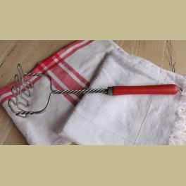 Brocante stamper met rood houten handvat