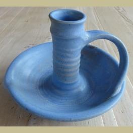 Grote keramieke blauwe blaker / kandelaar