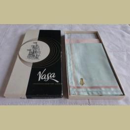 Vintage Vasa pastel zakdoekjes in doos met zeilschip