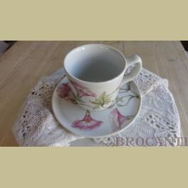 Franse Pillivuyt LISERON grote kop en schotel roze petunia