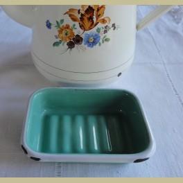 Brocante wit / mint groen emaille zeepbakje